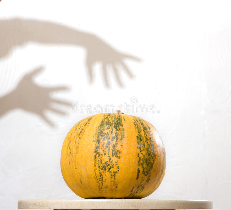 Yellow pumpkin no table with hands shadow on wall royalty free stock images