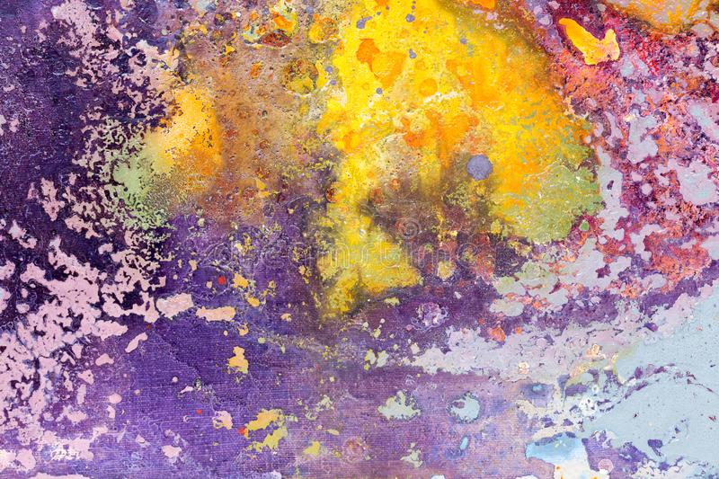 Yellow, purple colors. Colorful bright abstract watercolor painting background for various design. royalty free stock photos