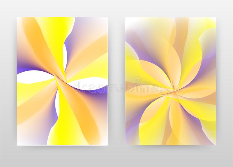 Yellow purple orange flower petal concept design of annual report, brochure, flyer, poster. Yellow flower background vector. Illustration flyer, leaflet, poster royalty free illustration
