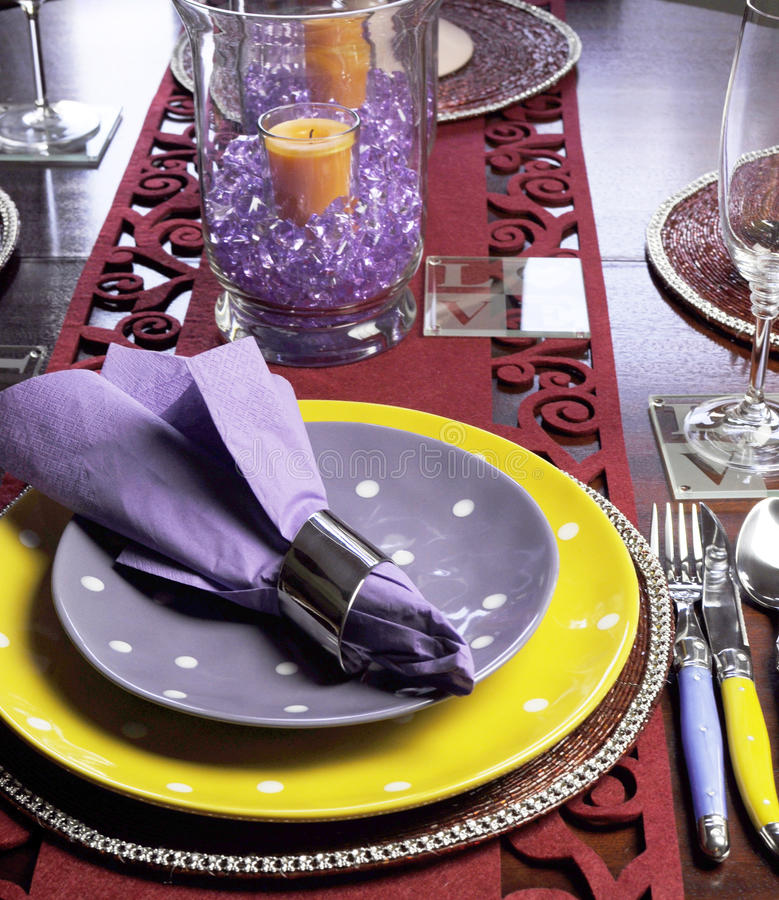 Yellow And Purple Table Place Setting - Vertical. Stock Image
