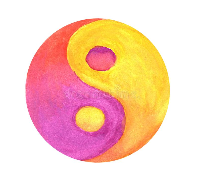 Yellow-purple Yin-Yang symbol stock illustration