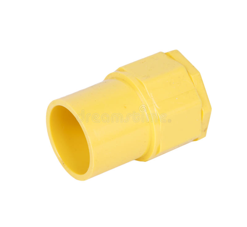 Yellow PVC fittings pipe. For electric conduit stock photography