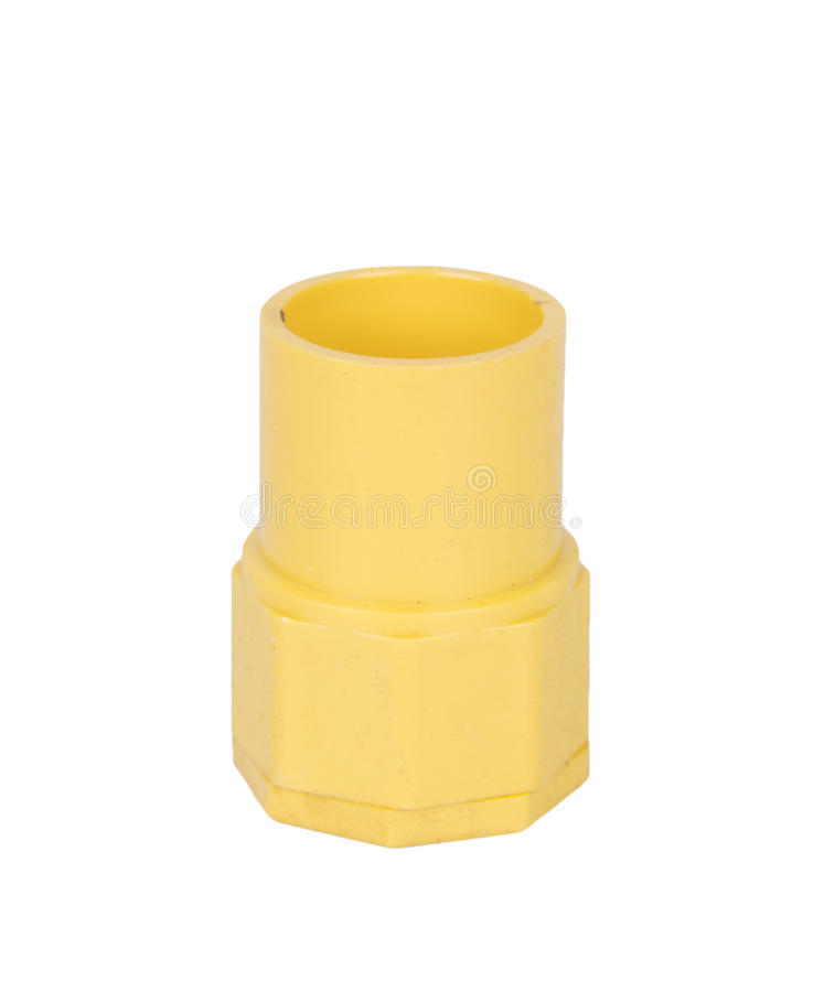 Yellow PVC fittings pipe. For electric conduit royalty free stock image
