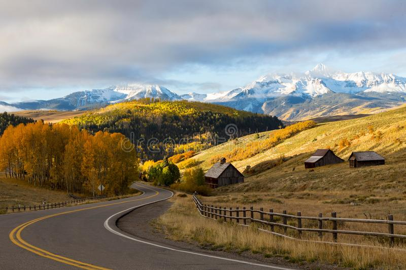 Yellow quaking aspen landscape, with Wilson Peak and the San Miguel mountain range in the background, Colorado stock photography