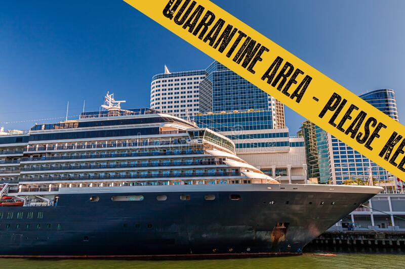 Yellow quarantine sign over a cruise ship at port royalty free stock photography