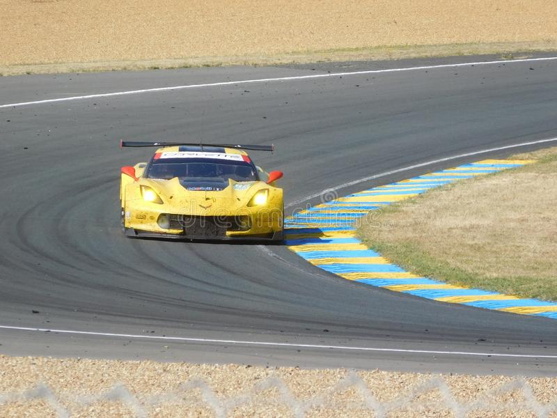 Yellow race car royalty free stock photography