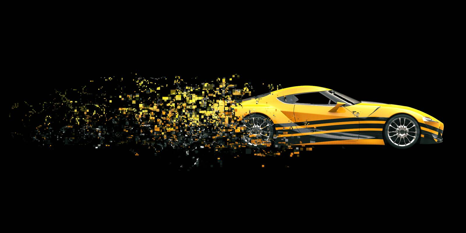 Yellow race concept car with cool black decal. Dissolving into pixels stock illustration