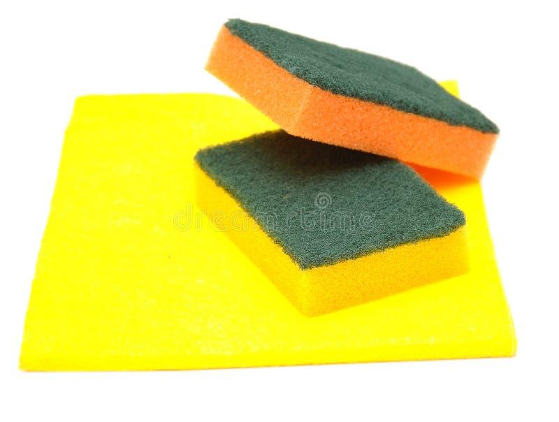 Yellow rag and kitchen sponge