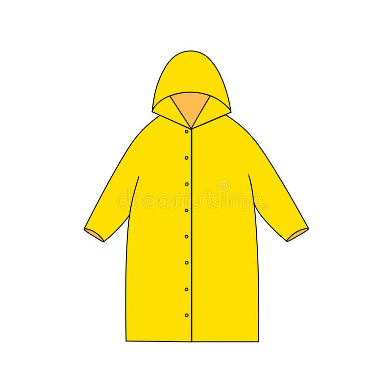 Yellow raincoat colored illustration. Object for design isolated on white background. Element of autumn and spring clothes. vector illustration
