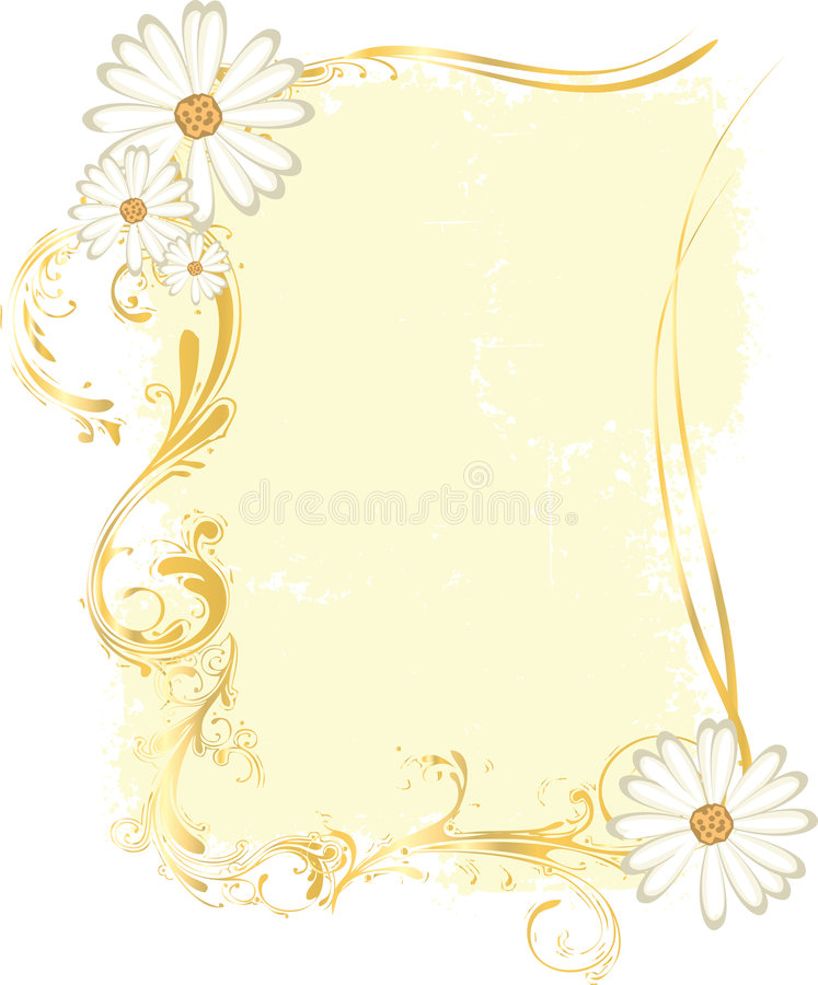 Download Yellow Rectangular Frame With Flowery Ornaments Stock Vector - Illustration of grunge, decoration: 6000991
