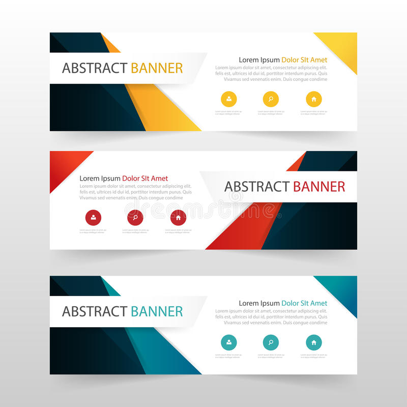Yellow red blue abstract triangle corporate business banner template, horizontal advertising business banner layout template. Flat design set , clean abstract stock illustration
