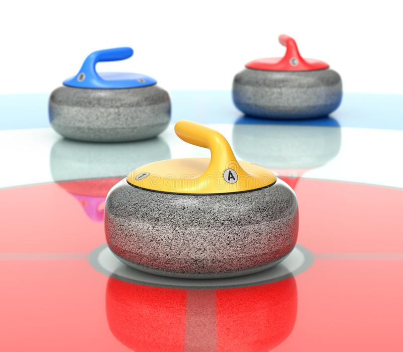 Yellow, red and blue curling stones royalty free stock photos