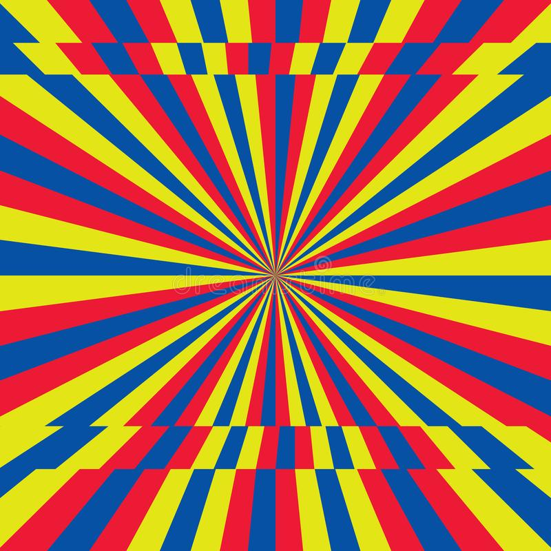 Yellow, red, blue stripes sunrays background. royalty free illustration
