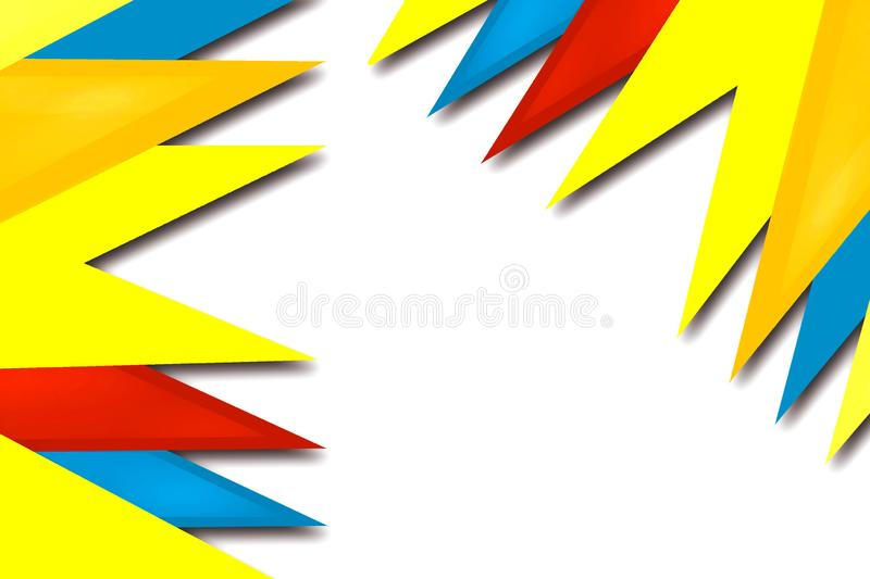 Yellow red and blue triangle overlap abstract background. Creative background stock illustration