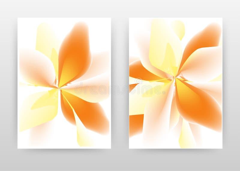 Yellow red 3d flower petal design of annual report, brochure, flyer, poster. orange yellow flower on white background vector. Illustration flyer, leaflet royalty free illustration