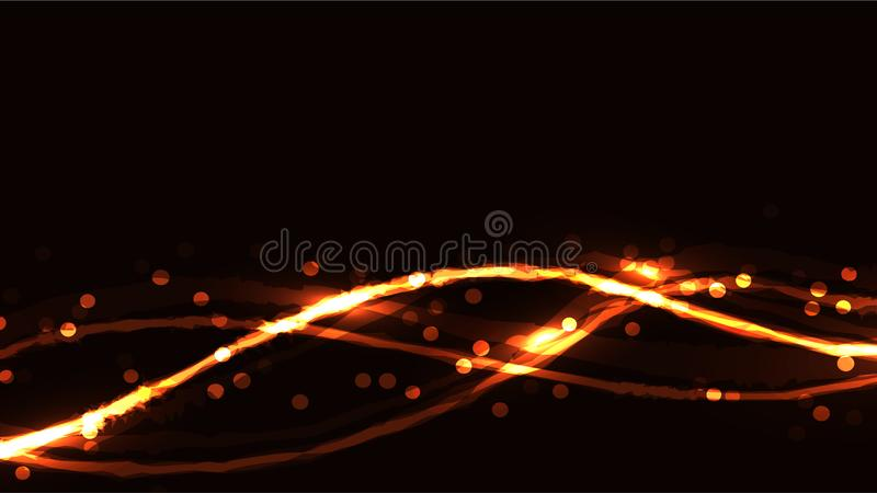 Yellow red fire abstract abstract digital high-tech magic cosmic energy bright light-shining texture background of neon blurred. Lines of waves of strips with stock illustration