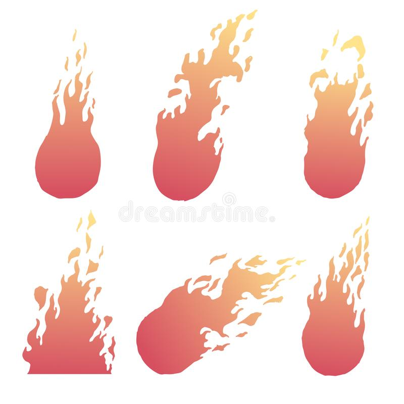 Yellow and red fire. Set of hand drawn frames. Vector illustration shape, sign, silhouette, symbol, texture, vector, warm royalty free illustration