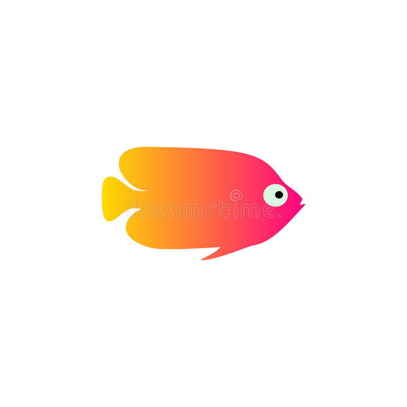 Yellow red fish vector illustration icon. Aquarium fishes flat style isolated on white background. Tropical, sea, fish royalty free illustration