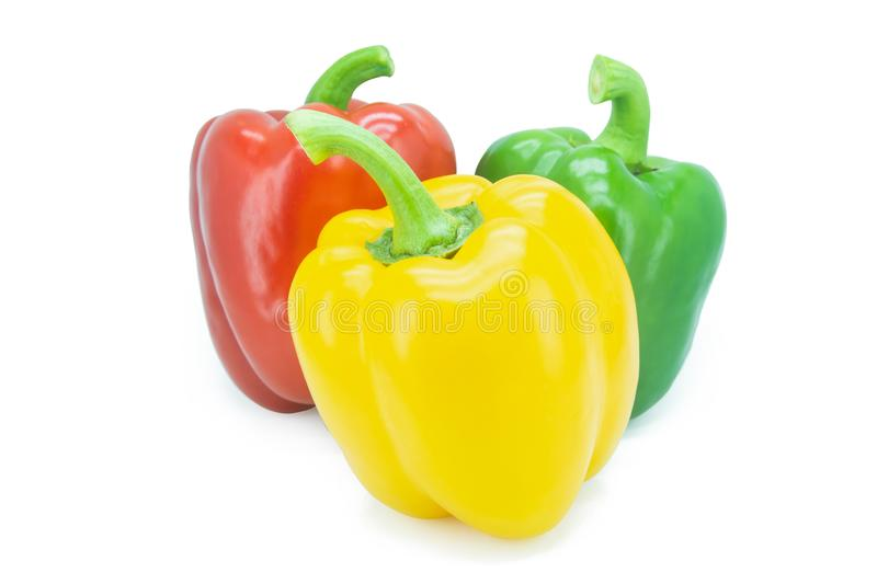 Yellow, Red, Green, bell pepper or sweet pepper or capsicum isolated on white background with clipping path royalty free stock images