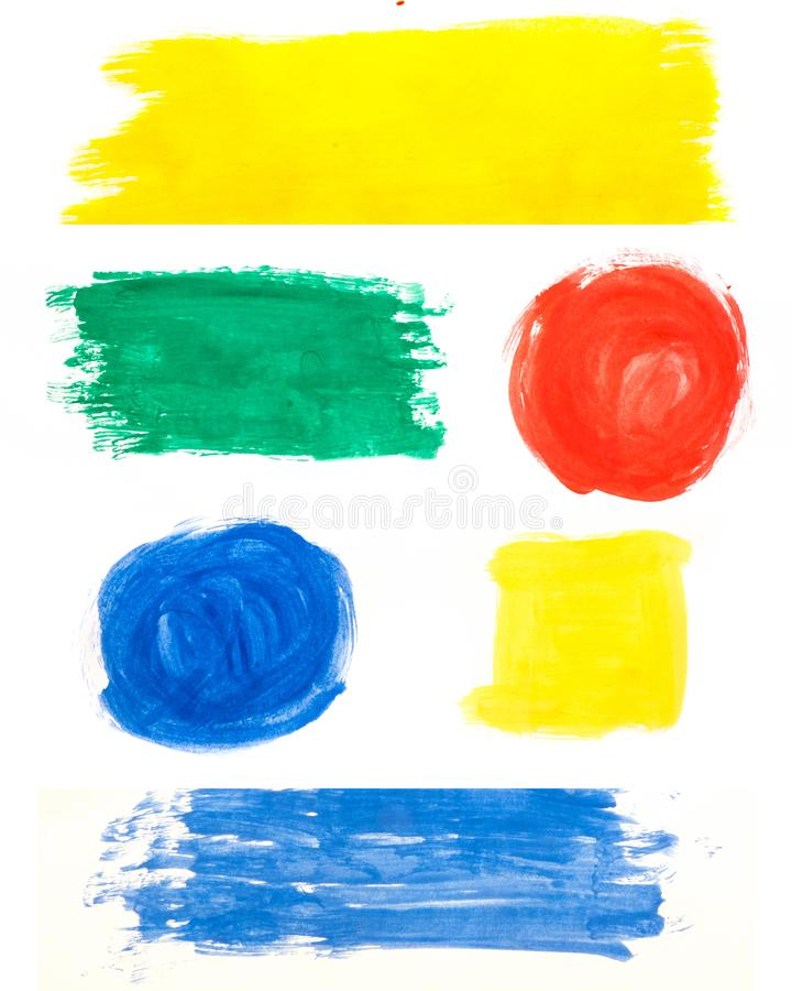 Yellow red green blue brushstroke watercolor pattern on white background royalty free stock image