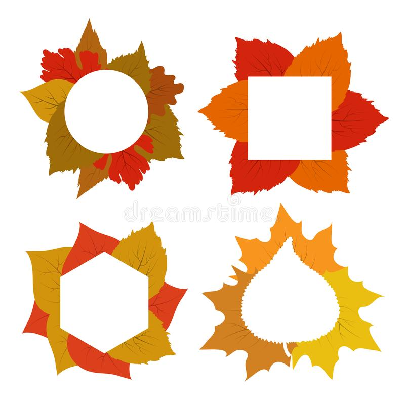 Yellow, red, orange autumn leaves vector banner templates stock illustration