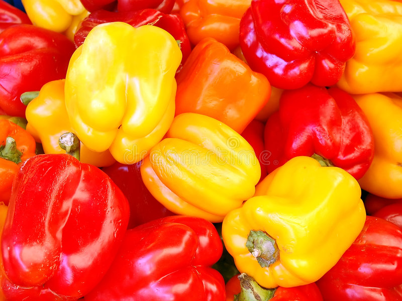 Yellow and red paprika stock photos