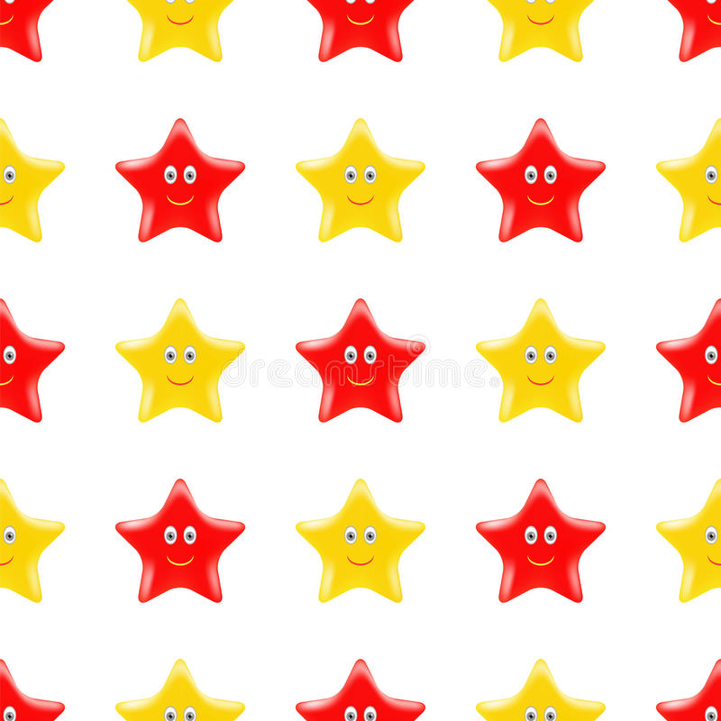 Yellow Red Smiling Star Seamless Pattern vector illustration
