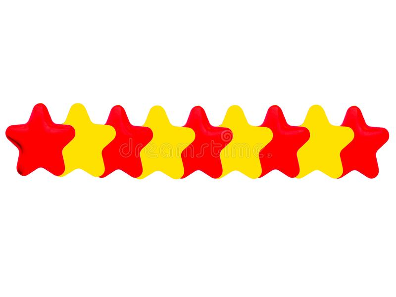 Yellow and red stars. Isolated on white background stock illustration