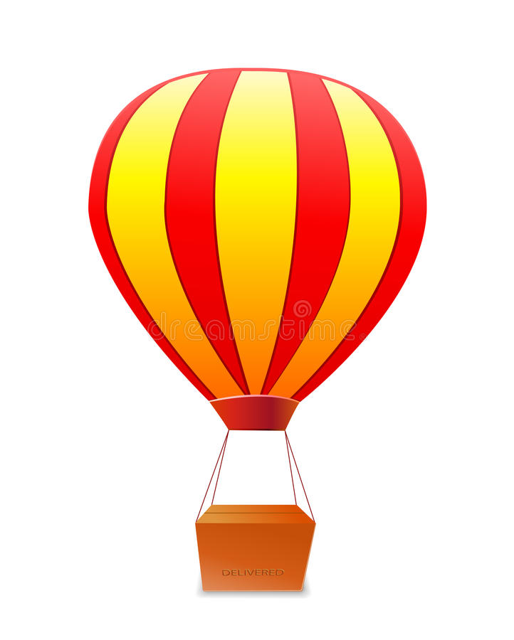 Yellow red striped aerostat with box royalty free illustration