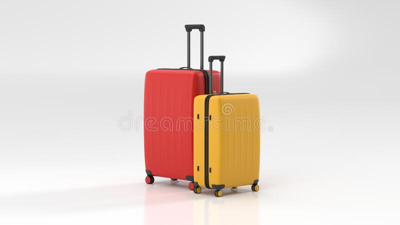Yellow and red suitcase on white background. travel concept. minimal style vector illustration