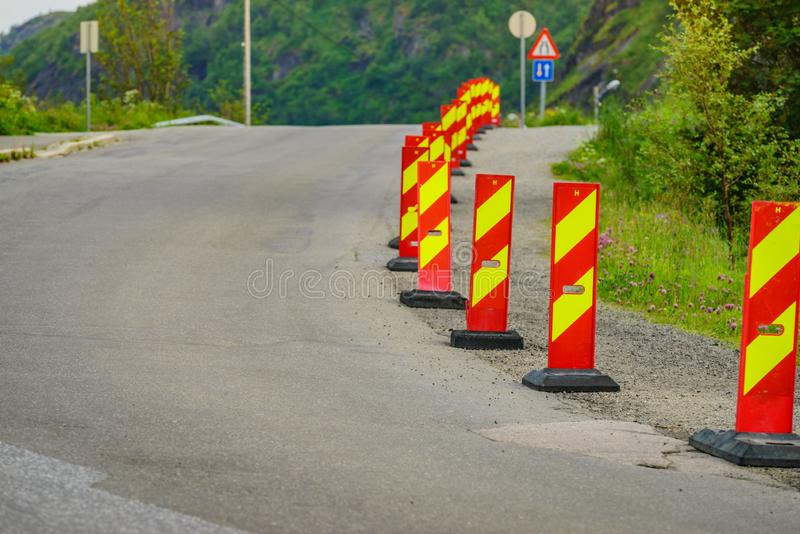 Yellow red road warning signs royalty free stock images