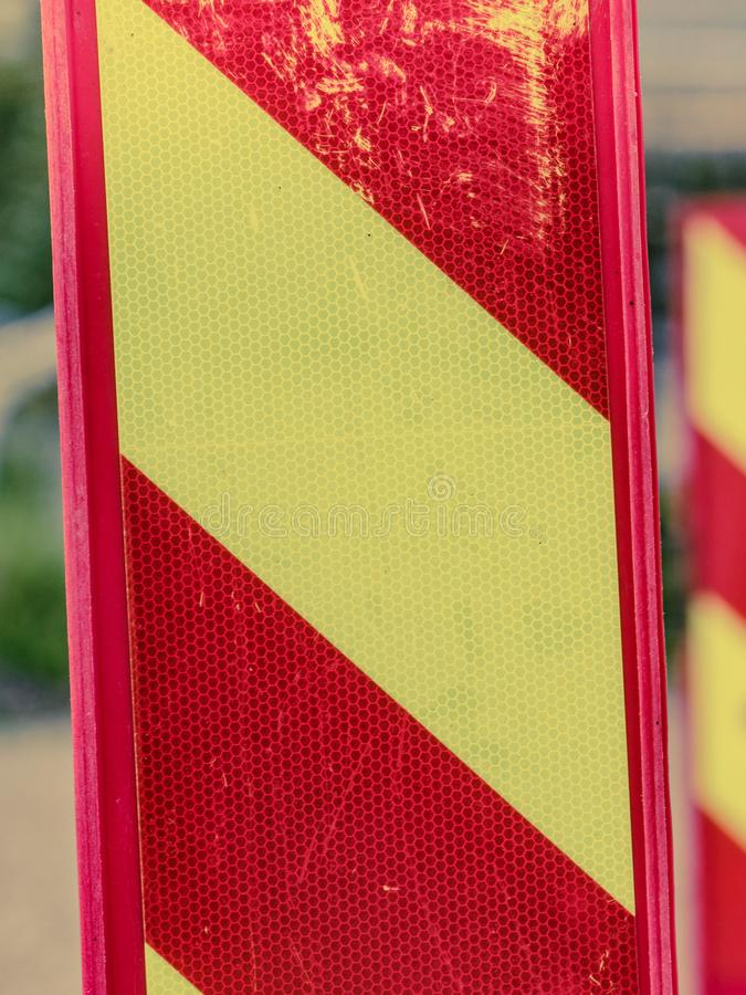Yellow red road warning signs stock image