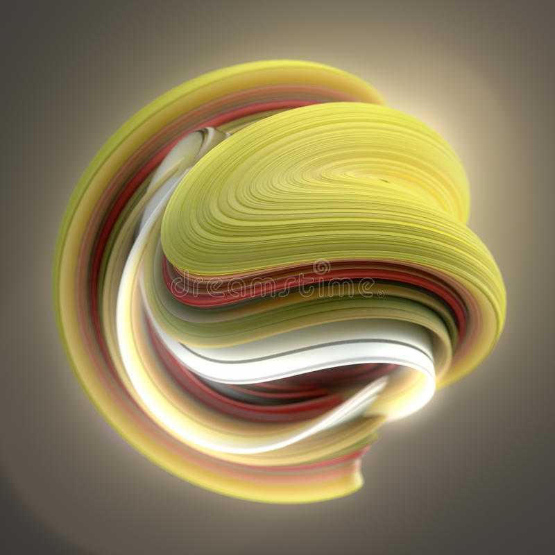 Yellow and red twisted shape. Computer generated abstract geometric 3D render illustration. Yellow and red abstract twisted shape. Computer generated geometric royalty free stock photos
