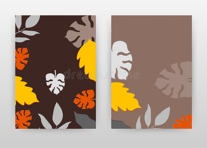 Yellow red white gray falling leaves design for annual report, brochure, flyer, poster. Leaf concept background vector vector illustration