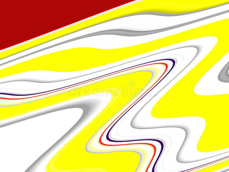 Yellow red white waves fluid shapes, geometries background on black background royalty free stock photo