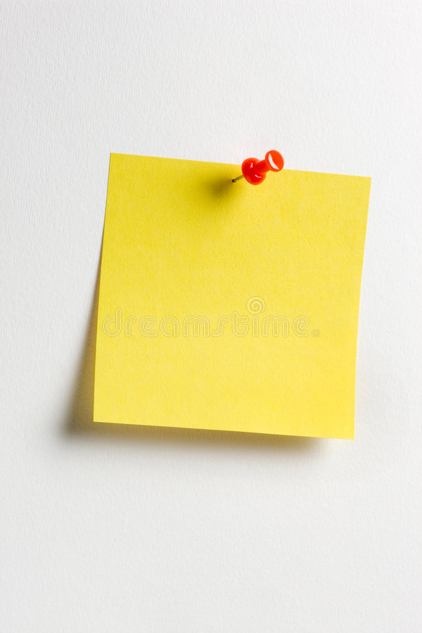 Yellow reminder note. With red pin royalty free stock photo