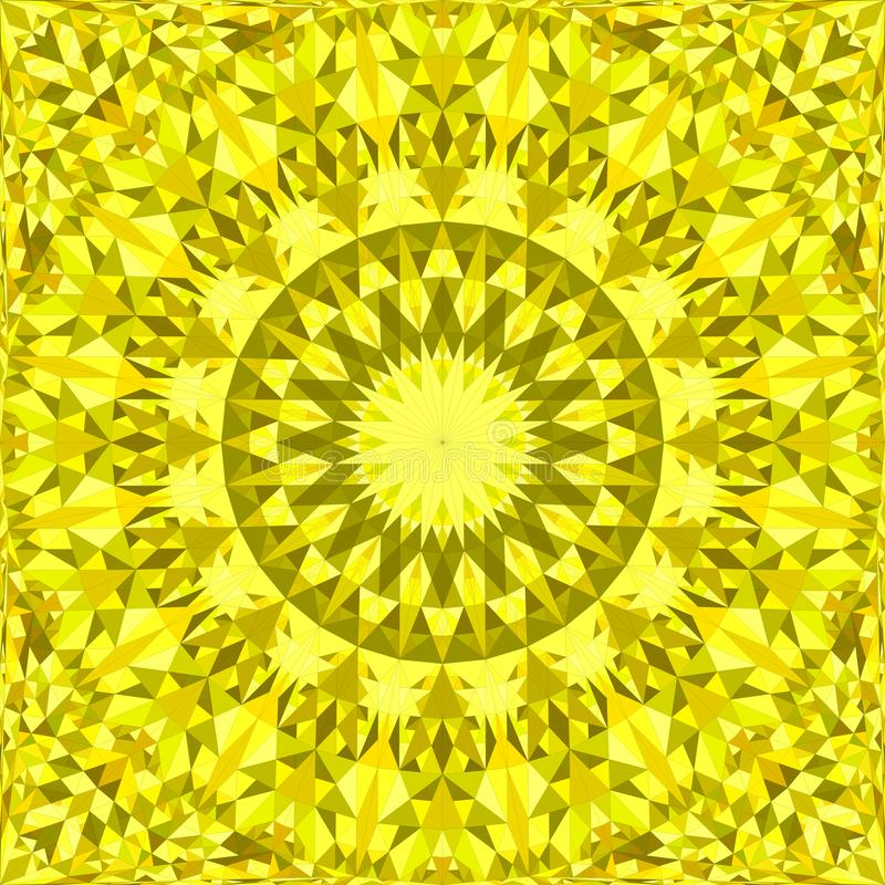 Yellow repeating kaleidoscope pattern background design - abstract vector mandala wallpaper illustration from triangles stock illustration