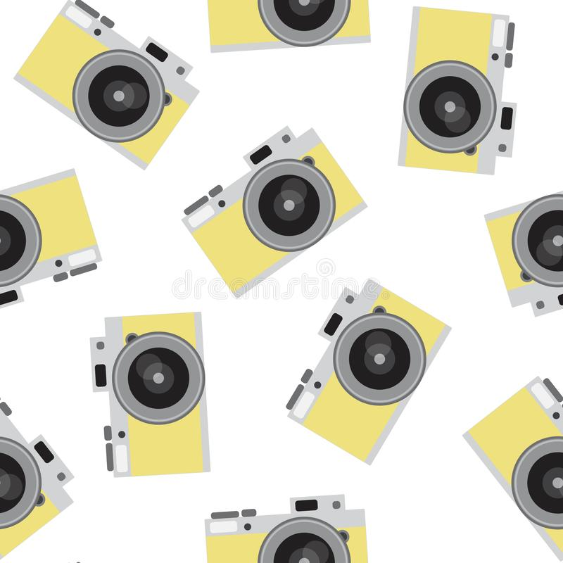 Yellow retro camera pattern seamless vintage photo hipster vector royalty free stock photography