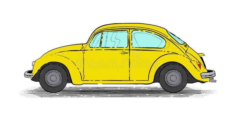 Yellow Retro Car. Inking of sweet and retro yellow car vector illustration