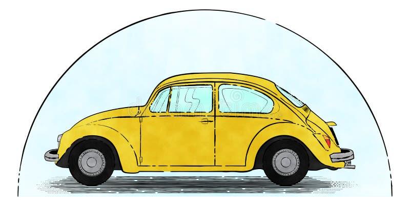 Yellow Retro Car. Inking of sweet and retro yellow car royalty free illustration