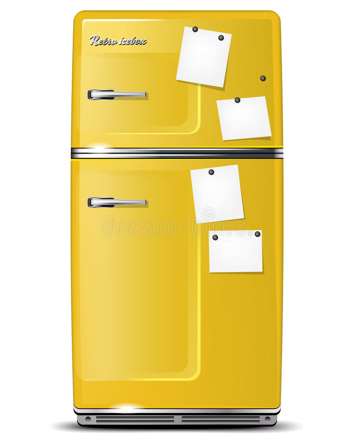 Download Yellow Retro Refrigerator With Paper Stickies Stock Vector - Image: 23743333
