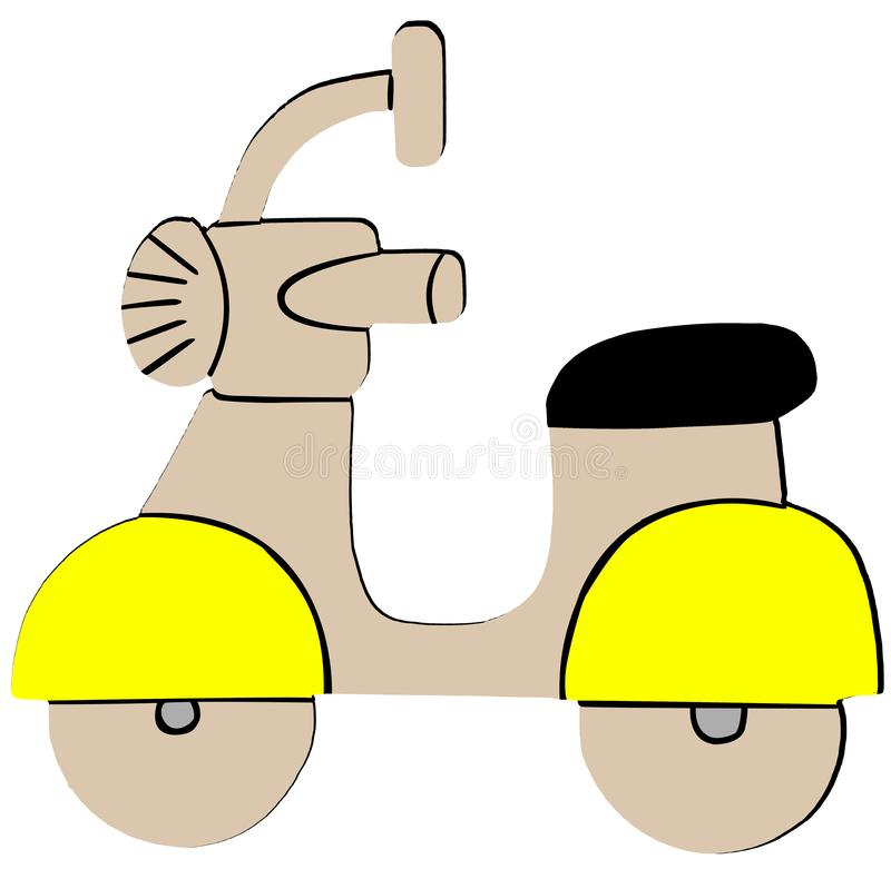 Yellow Retro Scooter Flat Icon on White Background.  royalty free illustration