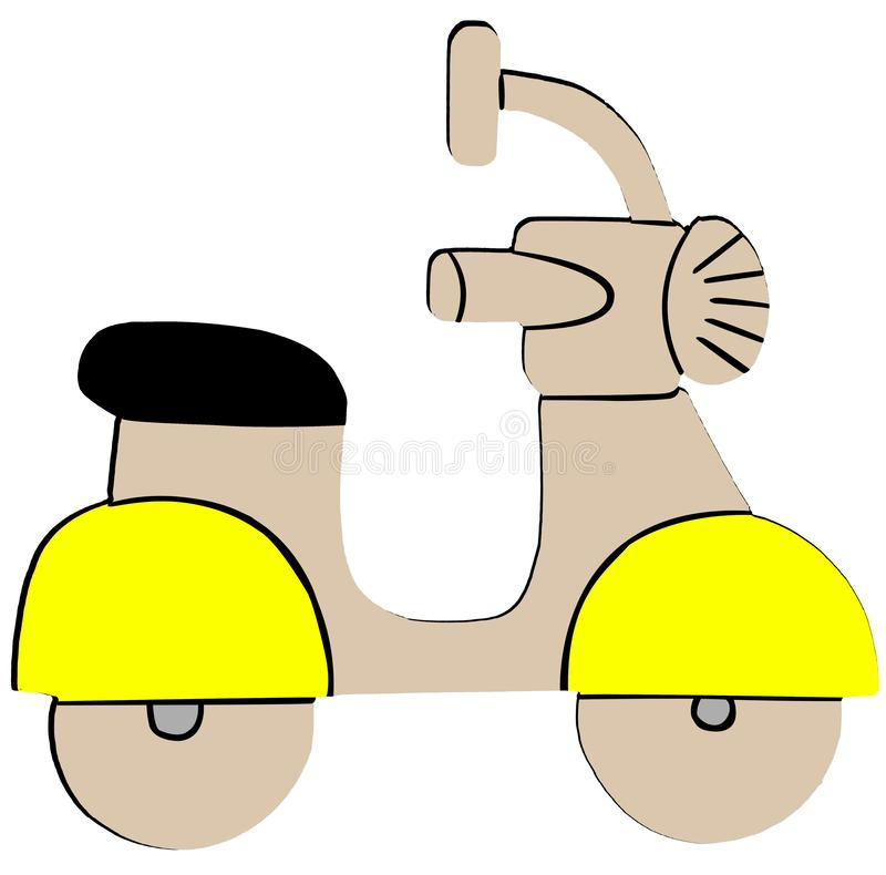 Yellow Retro Scooter Flat Icon on White Background.  vector illustration