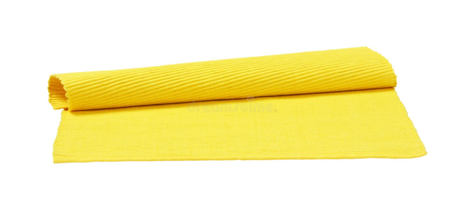 Yellow ribbed cotton placemat stock photography