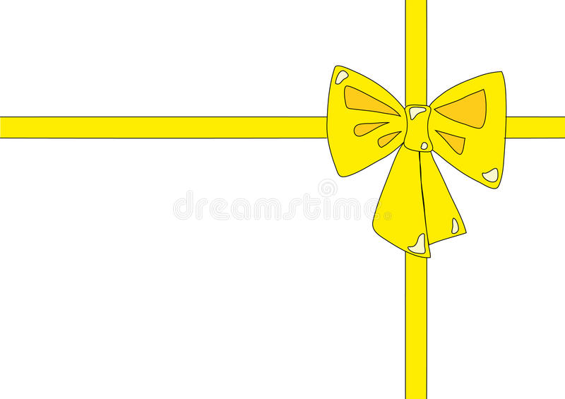 Yellow ribbon. Illustration of yellow cross ribbon and bow, isolated on white vector illustration