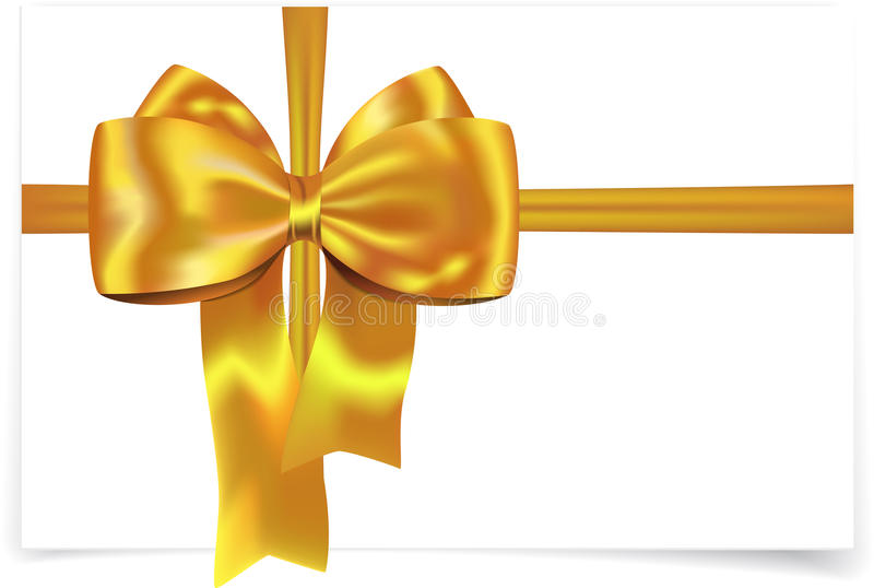 Yellow ribbon with bow vector illustration