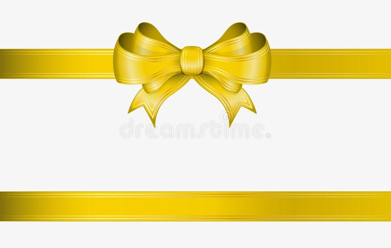 Yellow ribbon and bow vector illustration