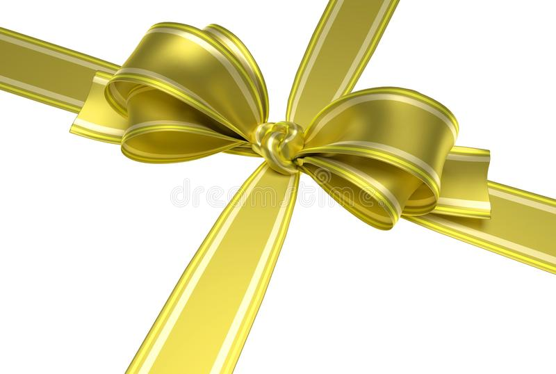 Yellow ribbon and bow. Yellow ribbon and elegant bow with gold lines for packing gifts for your party. Symbol of packing presents for birthday party, christmas vector illustration