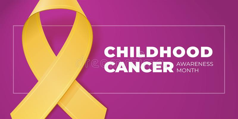 Yellow ribbon with copy space for your text. Childhood Cancer Awareness Month typography. Medical symbol in September. Vector illustration for banner, poster vector illustration
