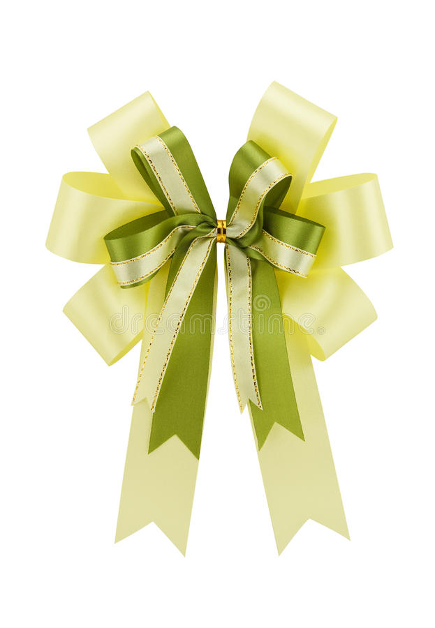 Yellow ribbon gift bow isolated on white background royalty free stock photography